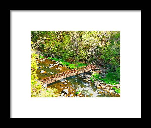 Rocks Framed Print featuring the photograph Bridge At The Falls by Judy Waller
