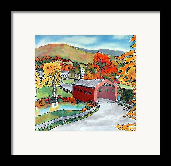 Silk Painting Framed Print featuring the painting Bridge At The Green by Linda Marcille