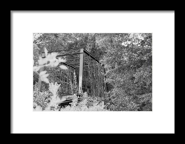 Bridge Framed Print featuring the photograph Bridge In Black And White by Lisa Johnston