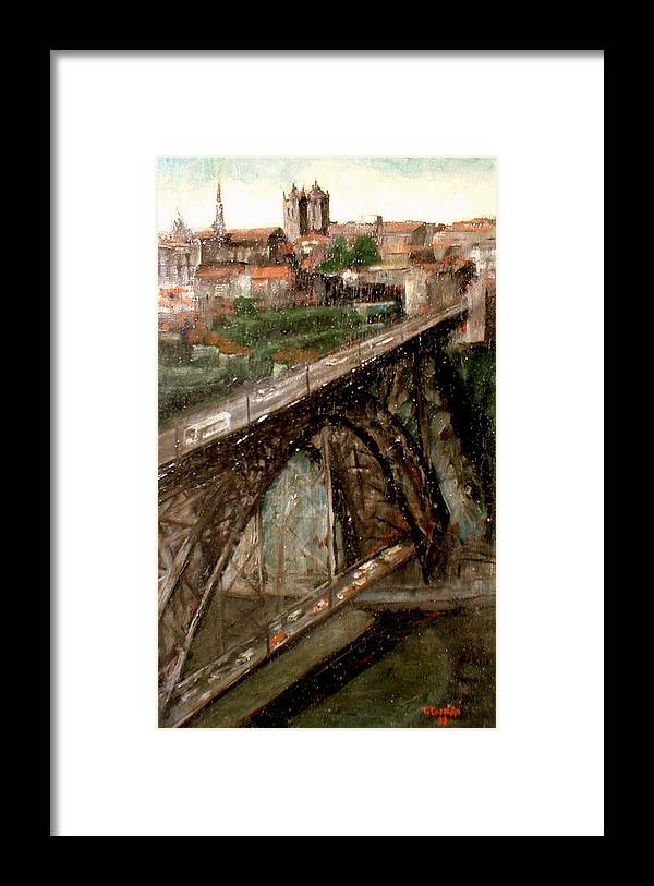 Porto Framed Print featuring the painting Bridge Luis I-Oporto by Tomas Castano