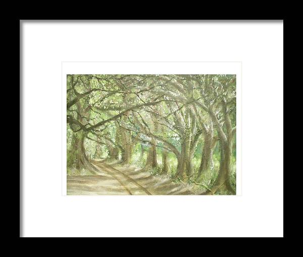 Landscape Framed Print featuring the painting Bridge Of Oaks by Hal Newhouser