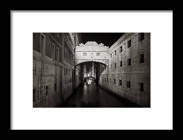Venice Framed Print featuring the photograph Bridge of sighs in the night by Marco Missiaja