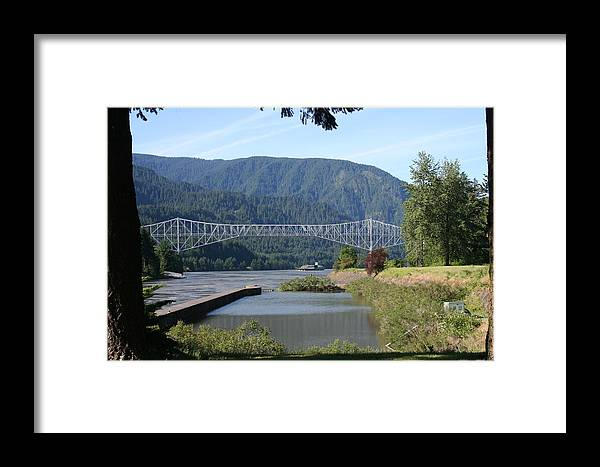 Bridges Framed Print featuring the photograph Bridge Of The Gods Br-4002 by Mary Gaines