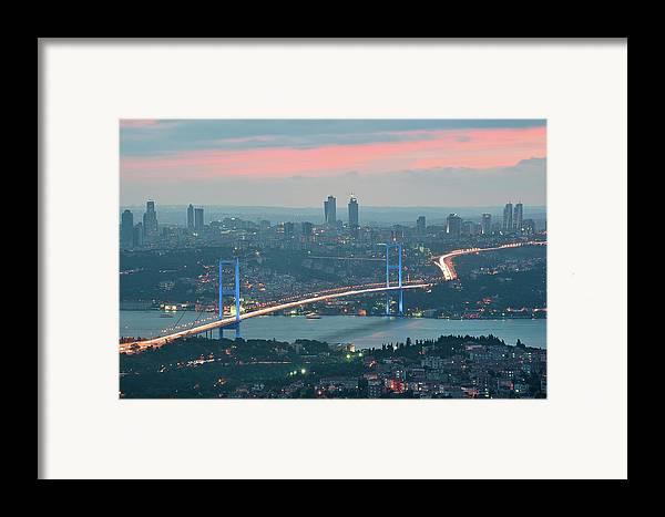 Horizontal Framed Print featuring the photograph Bridge Over Bosphrous by Salvator Barki