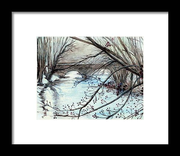 Bridge Over Cocalico Creek Denver Pensylvania Framed Print featuring the painting Bridge Over Cocalico Creek by Morgan Fitzsimons