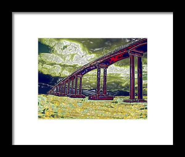 Stormy Water Bridge Hobart Tasmania Framed Print featuring the photograph Bridge Over Stormy Waters by Bethwyn Mills