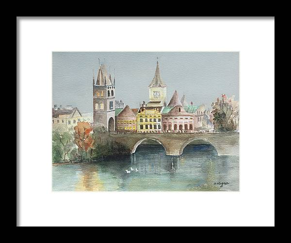 Bridge Framed Print featuring the painting Bridge Over The Lake by Arline Wagner