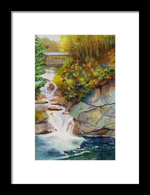 New England Framed Print featuring the painting Bridge Over Traveled Water by Karen Fleschler