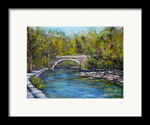 Philadelphia Framed Print featuring the pastel Bridge Over Wissahickon Creek by Joyce A Guariglia