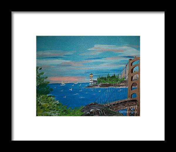 Acrylic Framed Print featuring the painting Bridge Scene by Donald Northup