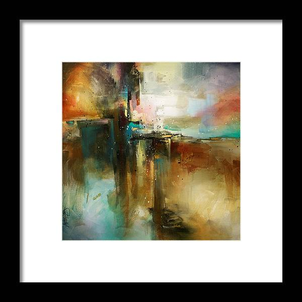 Abstract Art Framed Print featuring the painting 'bridge To Eternity' by Michael Lang