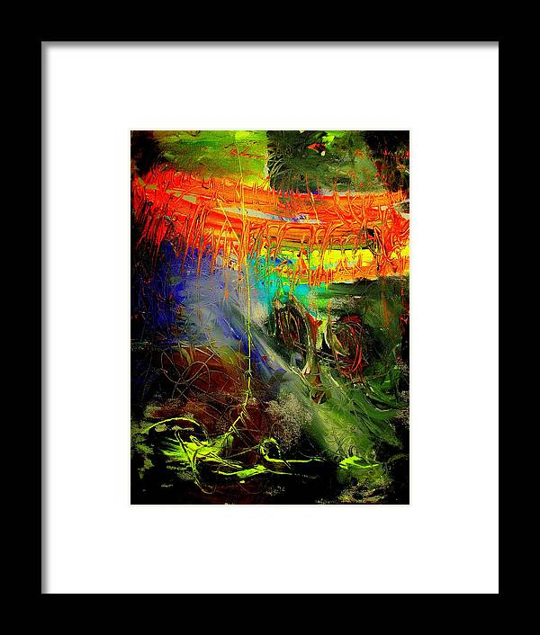 Abstract Prinst Framed Print featuring the painting Bridge To Heaven by Teo Santa
