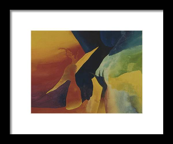 Abstract Framed Print featuring the painting Bridging Worlds by Peter Shor