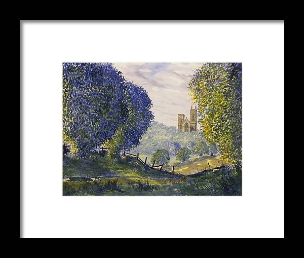 Glenn Marshall Yorkshire Artist Framed Print featuring the painting Bridlington Priory From Woldgate On The Hockney Trail by Glenn Marshall