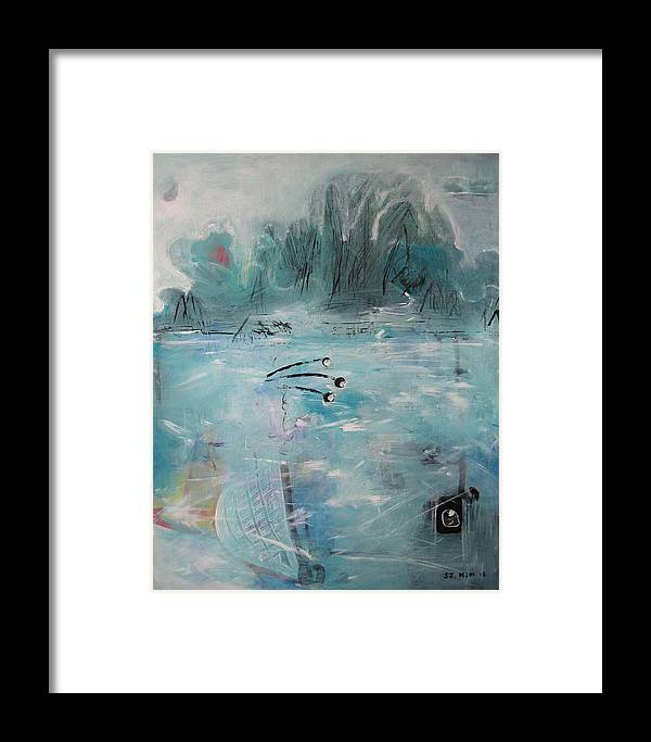 Abstract Paintings Framed Print featuring the painting Brierly Beach by Seon-Jeong Kim