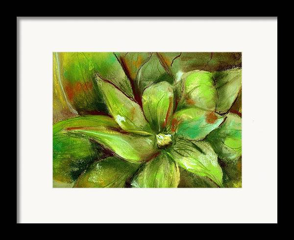 Green Framed Print featuring the painting Bright Agave by Marilyn Barton