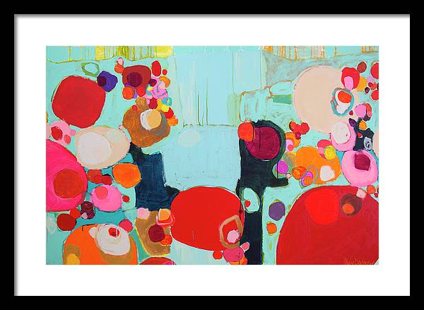 Abstract Framed Print featuring the painting Bright As Quiet by Claire Desjardins