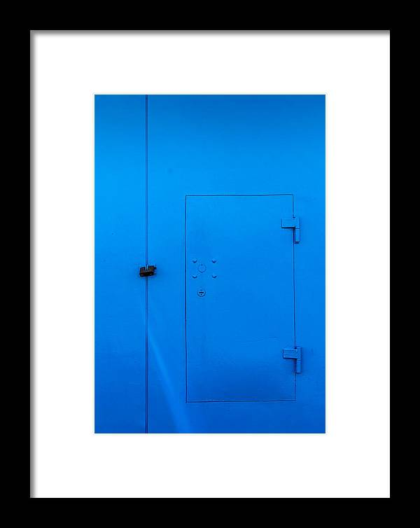 Bar Framed Print featuring the photograph Bright Blue Locked Door And Padlock by John Williams