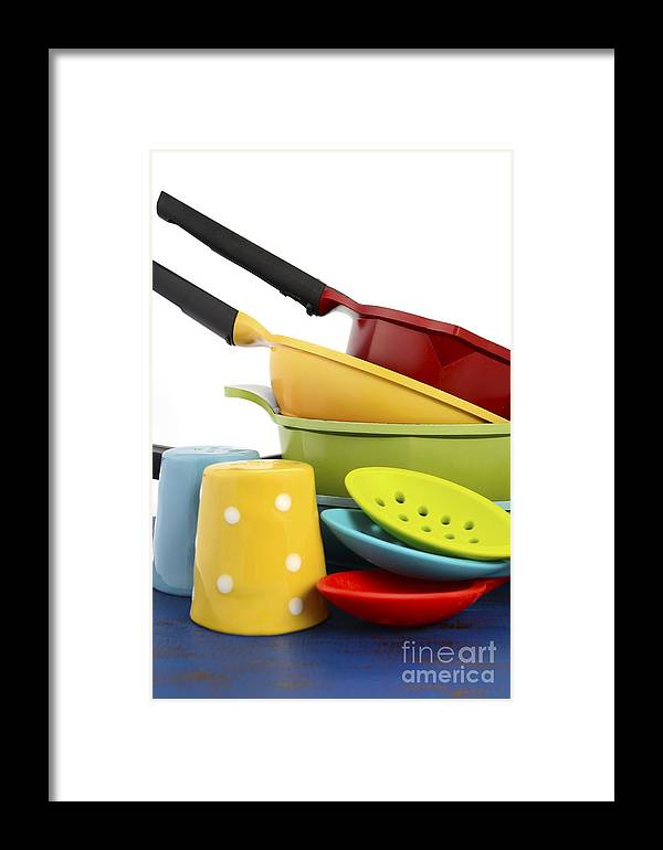 Kitchen Framed Print featuring the photograph Bright Colorful Modern Kitchen Pot And Pans by Milleflore Images