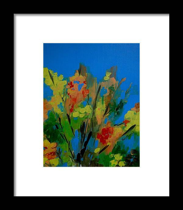 Nature Framed Print featuring the painting Bright Flowers On Blue by Judy Swerlick