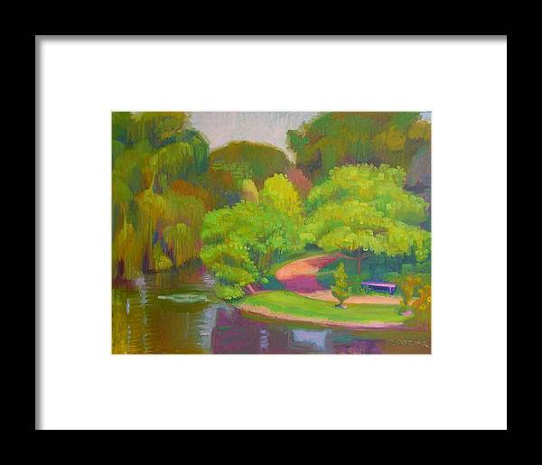 Landscape Framed Print featuring the painting Bright Hazy Day Chicago Botanical Gardens by David Dozier