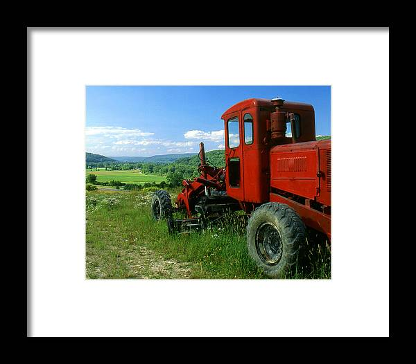 Heavy Equipment Framed Print featuring the photograph Bright Red Antique Grader by Roger Soule