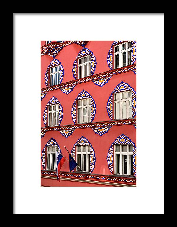Cooperative Business Bank Framed Print featuring the photograph Brightly Colored Facade Vurnik House Or Cooperative Business Ban by Reimar Gaertner