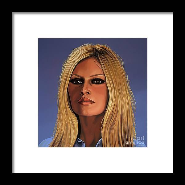 Brigitte Bardot Framed Print featuring the painting Brigitte Bardot Painting 3 by Paul Meijering