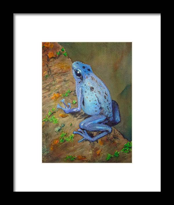 Animal Framed Print featuring the painting Brilliant Blue Poison Dart Frog by Kerra Lindsey
