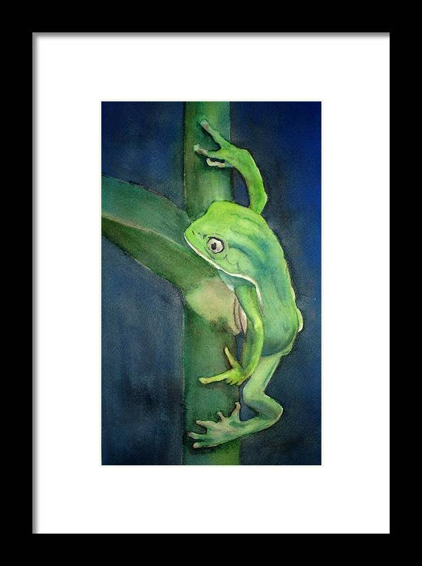 Frog Framed Print featuring the painting Brilliant Green Poison Dart Frog by Kerra Lindsey