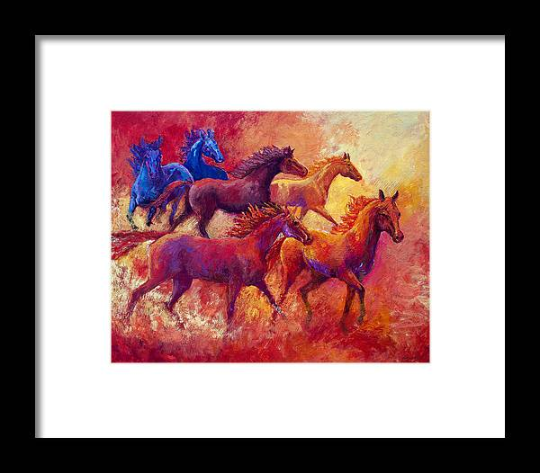 Horses Framed Print featuring the painting Bring The Mares Home by Marion Rose