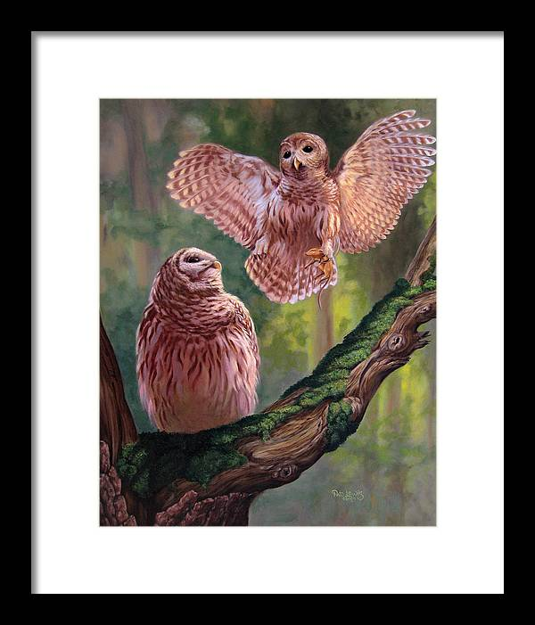 Owls Framed Print featuring the painting Bringing Home Dinner by Pat Lewis