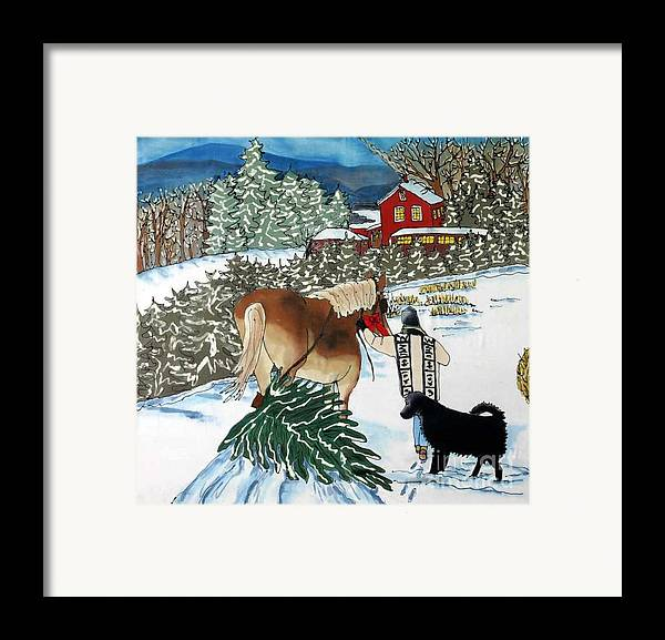 Christmas Framed Print featuring the painting Bringing Home The Tree by Linda Marcille