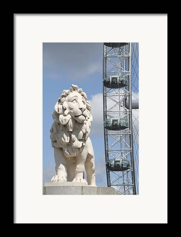 Lion Framed Print featuring the photograph Britannia Lion by Margie Wildblood