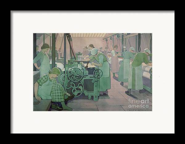 Factory; Twenties; Women; Machinery; Looms; Protective Clothing Framed Print featuring the painting British Industries - Cotton by Frederick Cayley Robinson