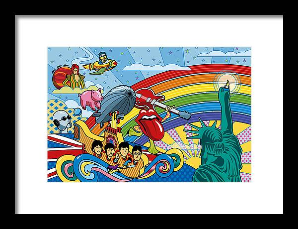 British Invasion Framed Print featuring the digital art British Invasion Encore by Ron Magnes