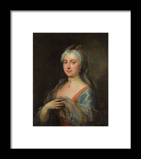 Joseph Highmore 1692 - 1780 British Lady Mary Wortley Montagu Framed Print featuring the painting British Lady Mary Wortley Montagu by Joseph Highmore