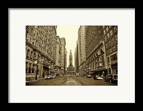 Broad Street Framed Print featuring the photograph Broad Street Facing Philadelphia City Hall In Sepia by Bill Cannon