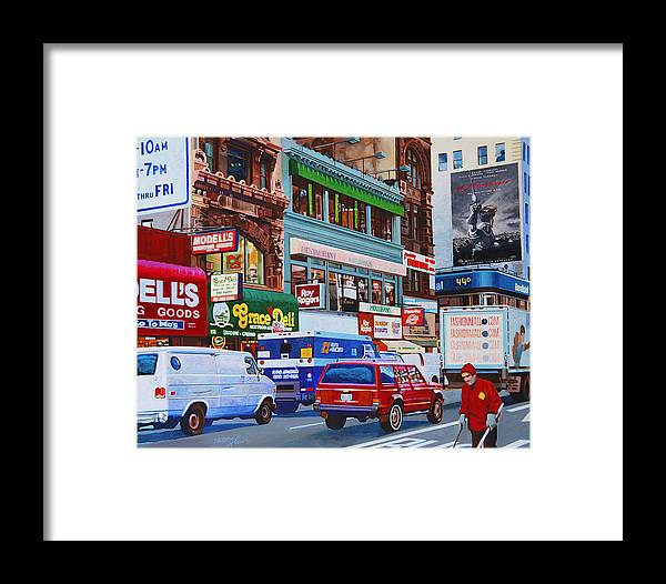 Street Scenes Framed Print featuring the painting Broadway by John Tartaglione