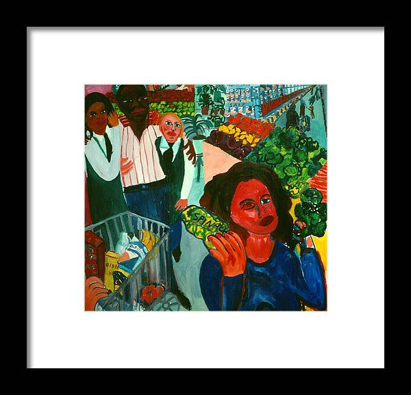 Self-portait In Urban Supermarket Framed Print featuring the painting Broccoli or Spinach by Nina Talbot