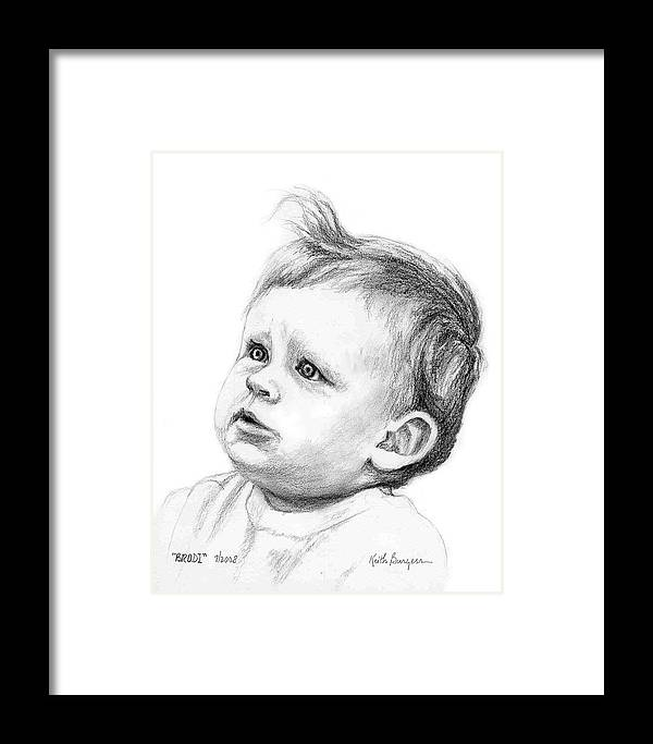 Portrait Framed Print featuring the drawing Brodi by Keith Burgess