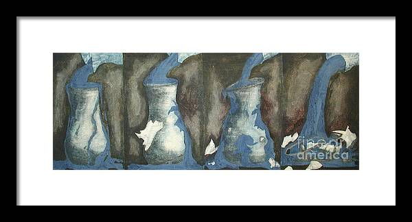 Water Framed Print featuring the painting Broke Down- This Vase Cannot Hold Any More by Sarah Goodbread