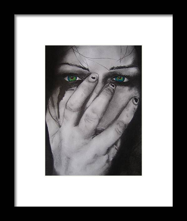 Black & White Framed Print featuring the drawing Broken by Amy Albright
