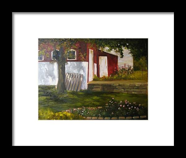 Landscape Framed Print featuring the painting Broken Fence by Courtney Weed