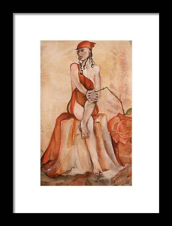 This Is A Matted And Framed Painting Of A Seated Woman In Red Holding A Bent And Broken Red Rose Bigger Than Her Head Or Heart Combined. Framed Print featuring the painting Broken Hearted by Georgia Annwell