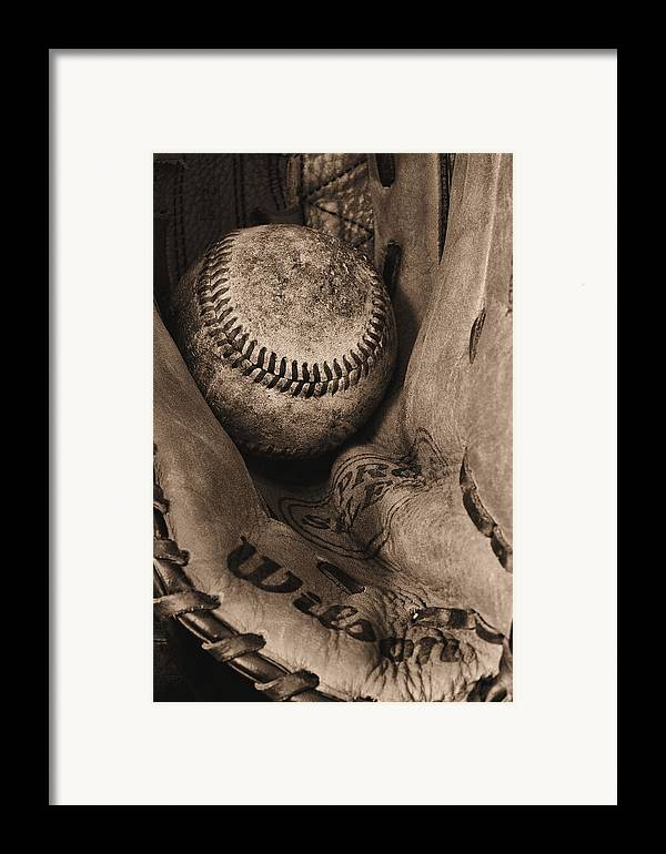 Baseball Framed Print featuring the photograph Broken In Bw by JC Findley