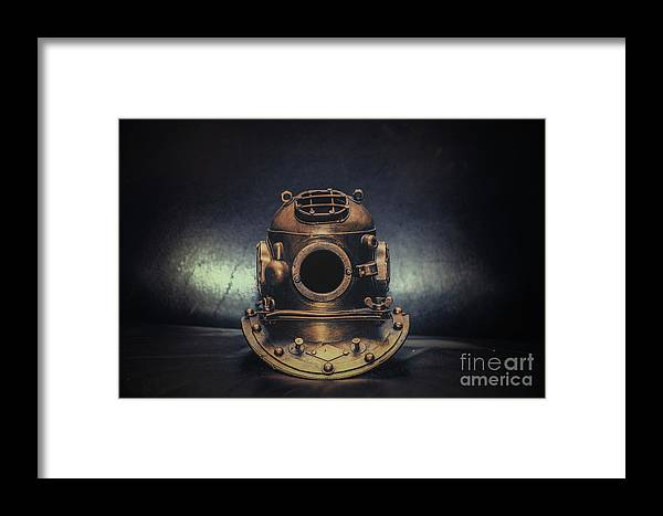 Diving Helmet Framed Print featuring the photograph Bronze 4 Bolt Helmet by Dale Powell