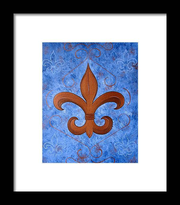 Fleur De Lis Framed Print featuring the painting Bronze Fleur De Lis by Valerie Carpenter