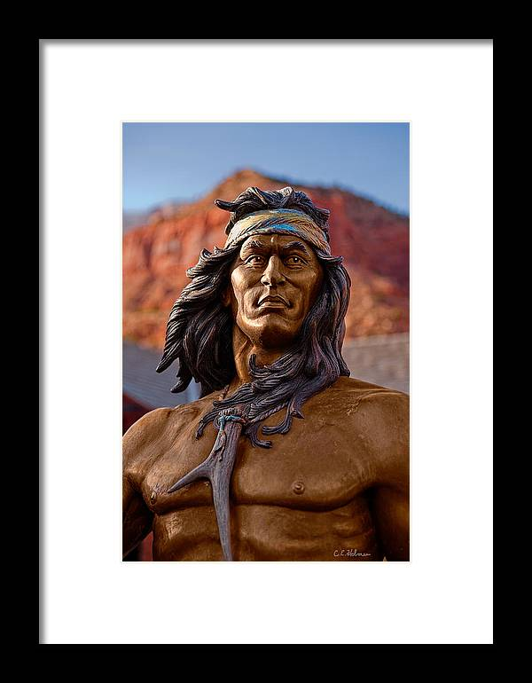 Statue Framed Print featuring the photograph Bronze Native by Christopher Holmes