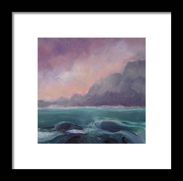 Seascape Framed Print featuring the painting Brooding Tide by Mary Brooking
